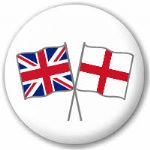 Great Britain and England Friendship Flag 25mm Pin Button Badge